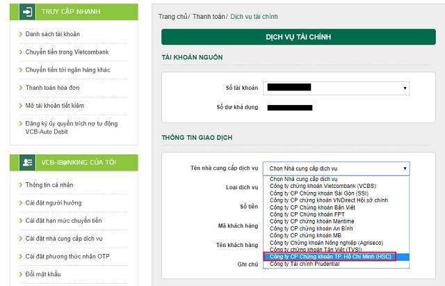 Các bước mở tài khoản chứng khoán vietcombank trực tuyến