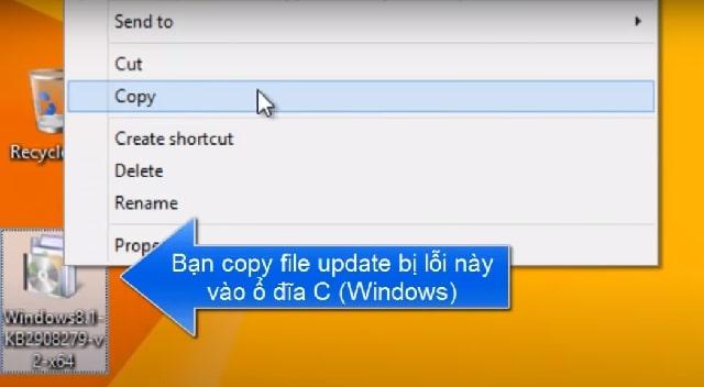 Tiến hành Copy file update bị lỗi vào ổ đĩa C của This PC