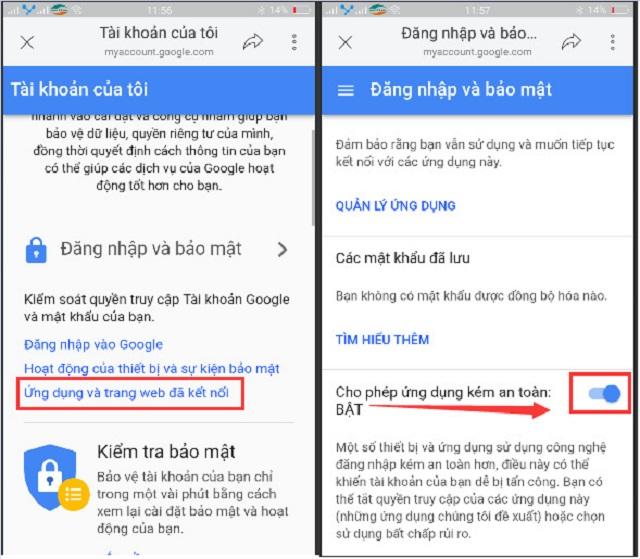 Bật các ứng dụng truy cập trong Gmail