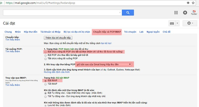 Bật cài đặt chế độ chuyển tiếp cho Gmail