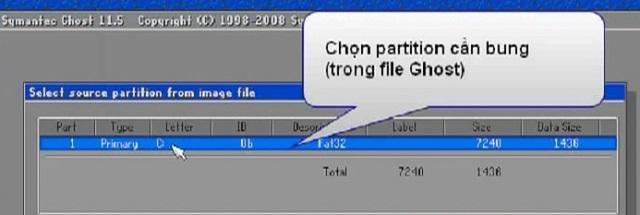 Chọn phân vùng Partition có trong file Ghost