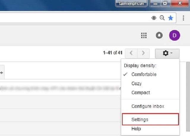 Giao diện cài đặt Gmail