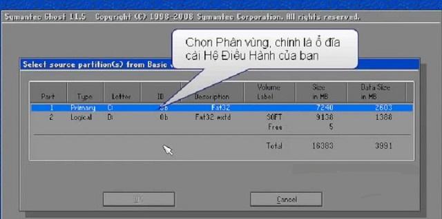 Giao diện chọn nơi lưu cho file Ghost ở ổ cứng bạn vừa chọn