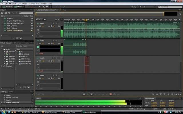 Mở chương trình Adobe Audition